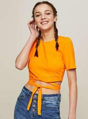 Miss Selfridge Noisy may ochre tie wrap crop t-shirt
