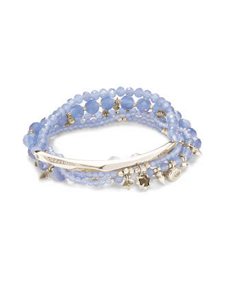 Kendra Scott Supak Silver Beaded Bracelet Set in Periwinkle Cats Eye