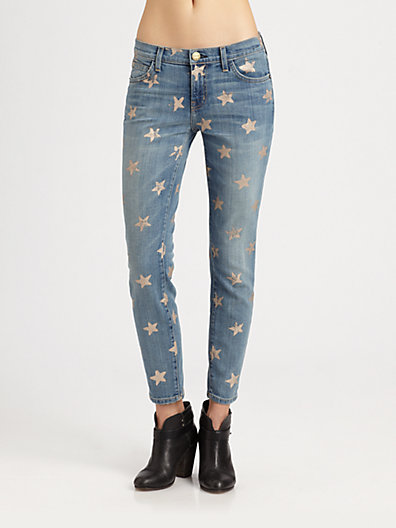 Current/Elliott The Stiletto Star-Print Jeans