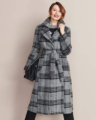 Fashion World Grey Check Wool Fit and Flare Coat