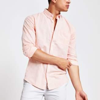 River Island Mens Orange linen chest pocket shirt