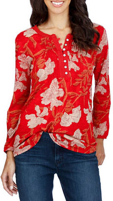 Lucky Brand Printed Long Sleeve Roundneck Top $49.50 thestylecure.com