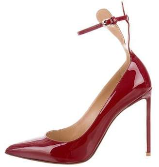 Francesco Russo Patent Leather Pointed-Toe Pumps