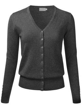 dbb30e9993 at Amazon Canada · FLORIA Women Button Down V-Neck Long Sleeve Soft Knit  Cardigan Sweater WHITE L