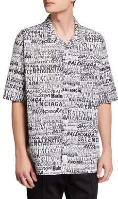 Balenciaga Men's Multi-Logo Typographic Sport Shirt