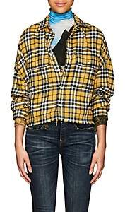 R 13 Women's Plaid Cotton Crop Work Shirt - Yellow