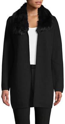 Kasper SUITS Hooded Faux Fur-Trimmed Cardigan
