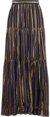 Peter Pilotto Striped Lurex And Silk-blend Chiffon Maxi Skirt - Gold