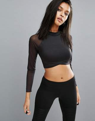 Reebok Long Sleeve Mesh Crop Top