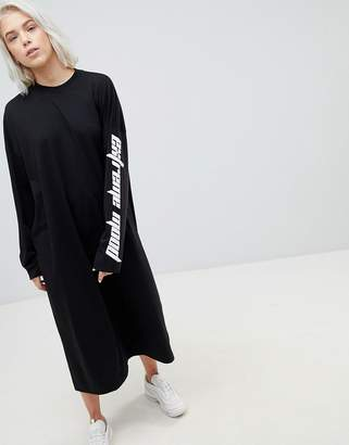 Weekday Open Back Dress with Slogan Sleeve