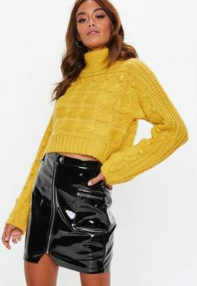 Missguided Mustard Turtle Neck Pom Pom Cable Cropped Sweater