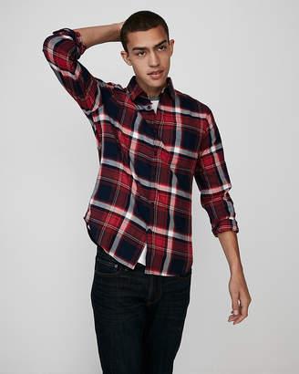 Express Slim Flannel Button Front Shirt
