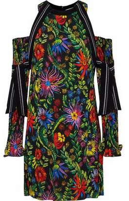 3.1 Phillip Lim Cold-Shoulder Silk-Trimmed Printed Crepe Mini Dress