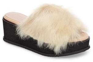 Taryn Rose Pearla Genuine Shearling Platform Slide Sandal