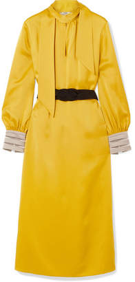 Fendi Belted Crepe De Chine Midi Dress - Yellow