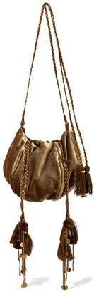 Ulla Johnson Fleur Embellished Embroidered Velvet Shoulder Bag - Bronze