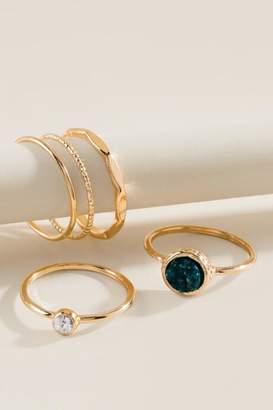 francesca's Luna Druzy Ring Set - Teal