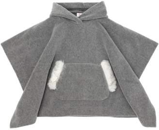 Il Gufo Hooded Fleece Poncho W/ Faux Fur Detail