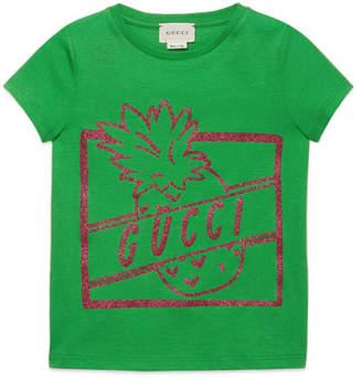Gucci Glittered Pineapple Logo-Print Jersey Tee, Size 4-12