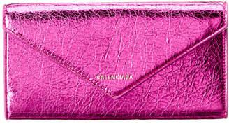 Balenciaga Papier Thin Money Metallic Leather Continental Wallet