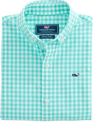 Vineyard Vines Boys Carleton Gingham Stretch Whale Shirt