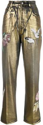 Golden Goose spray painted wide leg jeans