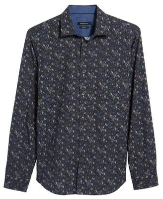 Bugatchi Trim Fit Leaf Print Sport Shirt