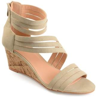 Brinley Co. Womens Strappy Faux Leather Faux Cork Wedges