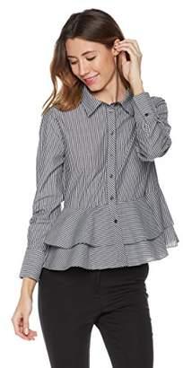 Essentialist Women's Mixed d Peplum Long Sleeve Blouse