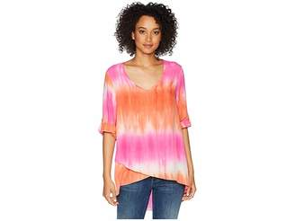 Mod-o-doc Printed Rayon V-Neck Crossover Hem Top