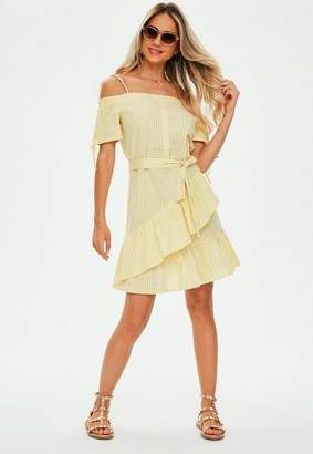 Missguided Yellow Cold Shoulder Gingham Dress