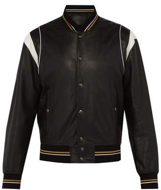 Givenchy Logo Leather Bomber Jacket - Mens - Black