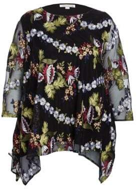 Caroline Rose Floral-Embroidered Lined Chiffon Tunic