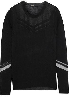 Maje Tibi Mesh-Paneled Stretch-Knit Sweater