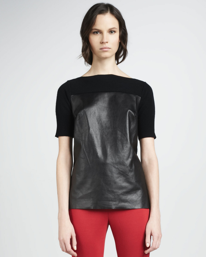 Robert Rodriguez Cashmere/Leather Combo Sweater