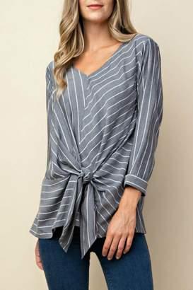 Kori Striped Tie-Front Blouse