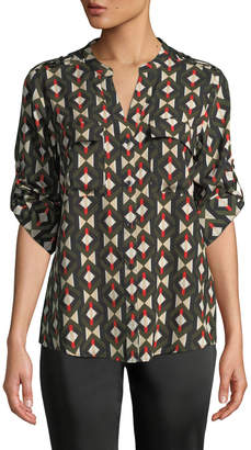 Iconic American Designer Geometric-Print Button-Front Roll-Sleeve Blouse