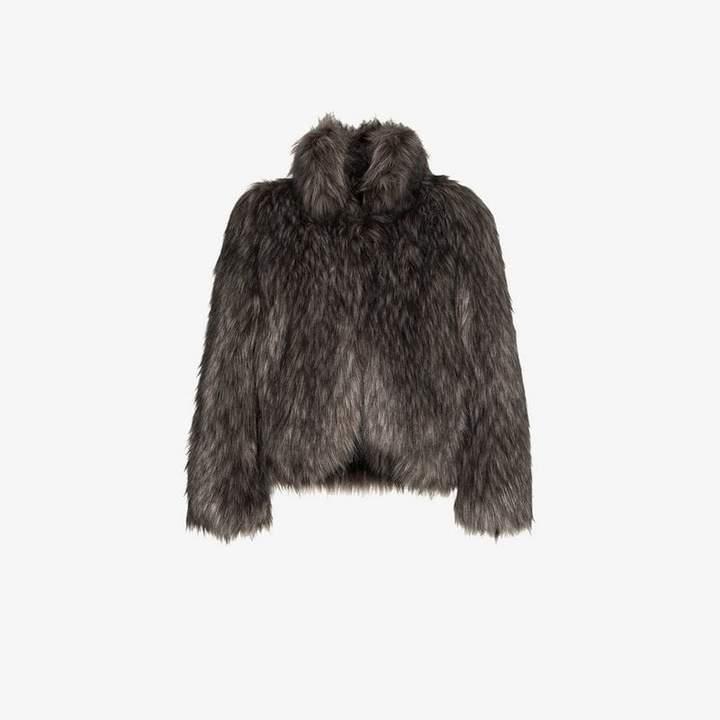 high collar short faux fur coat