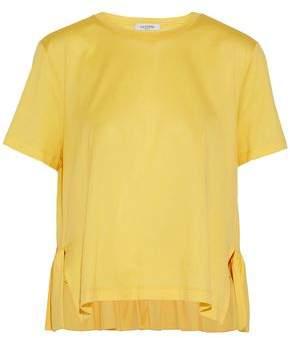 Valentino Ruffle-Trimmed Cotton-Jersey T-Shirt
