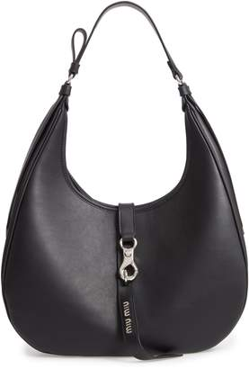 Miu Miu Medium Grace Lux Calfskin Leather Hobo
