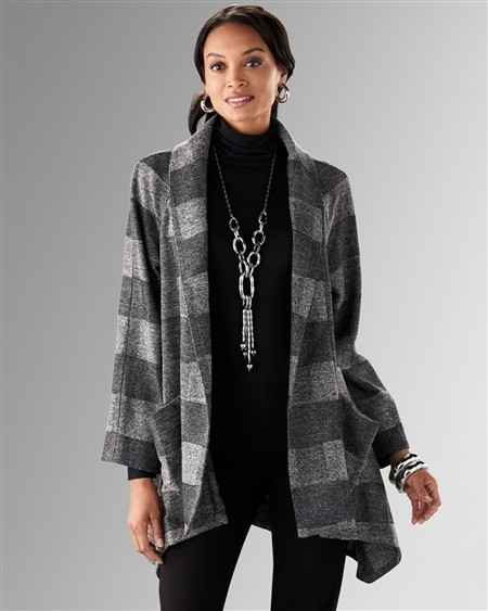 Grey Plaid Cocoona Jacket