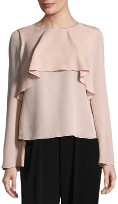 Badgley Mischka Silk Ruffle Top