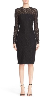 Women's Carmen Marc Valvo Couture Embellished Illusion Lace Knit Sheath Dress $1,980 thestylecure.com