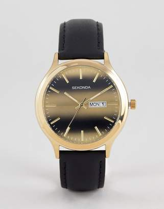 Sekonda Black Leather Watch With Tigers Dial Exclusive To ASOS