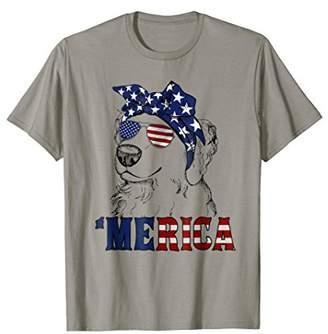 Golden Retriever Merica T Shirt Funny 4th of July Gift