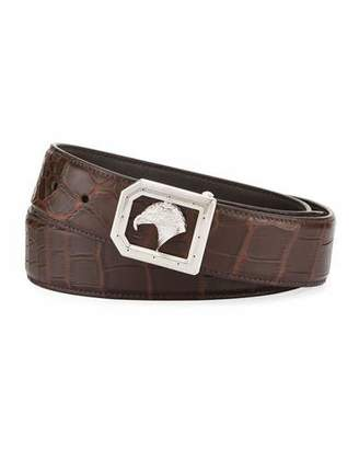Stefano Ricci Eagle-Buckle Crocodile Belt, Brown