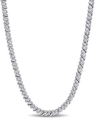FINE JEWELRY Womens 1 CT. T.W. Genuine White Diamond Sterling Silver Tennis Necklaces
