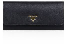 Prada Saffiano Leather Continental Flap Wallet $680 thestylecure.com