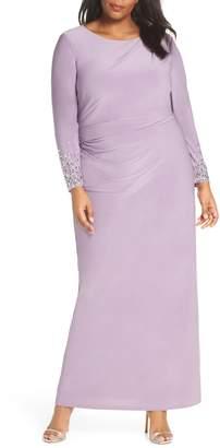 356dcf96f88 Vince Camuto Embellished Sleeve Ruched Evening Dress