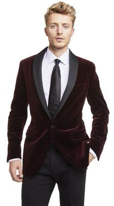 Todd Snyder Made in USA Velvet Shawl Collar Dinner Jacket in Burgundy